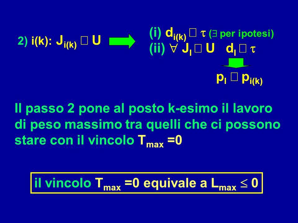(i) di(k) ³ t ( per ipotesi) (ii)  Jl Î U dl ³ t