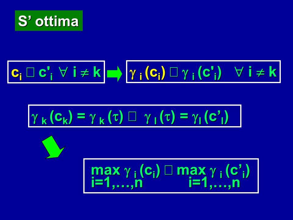 S' ottima ci £ c i  i  k. g i (ci) £ g i (c i)  i  k. g k (ck) = g k (t) £ g l (t) = gl (c'l)