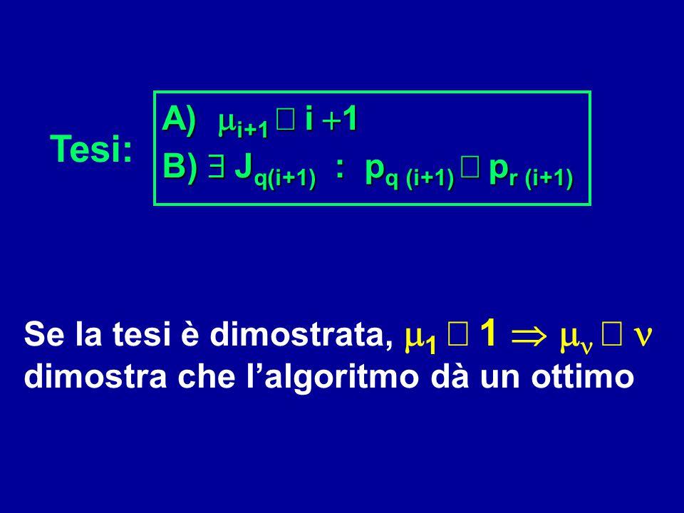 A) mi+1 ³ i +1 B) $ Jq(i+1) : pq (i+1) £ pr (i+1) Tesi: Se la tesi è dimostrata, m1 ³ 1  mn ³ n.