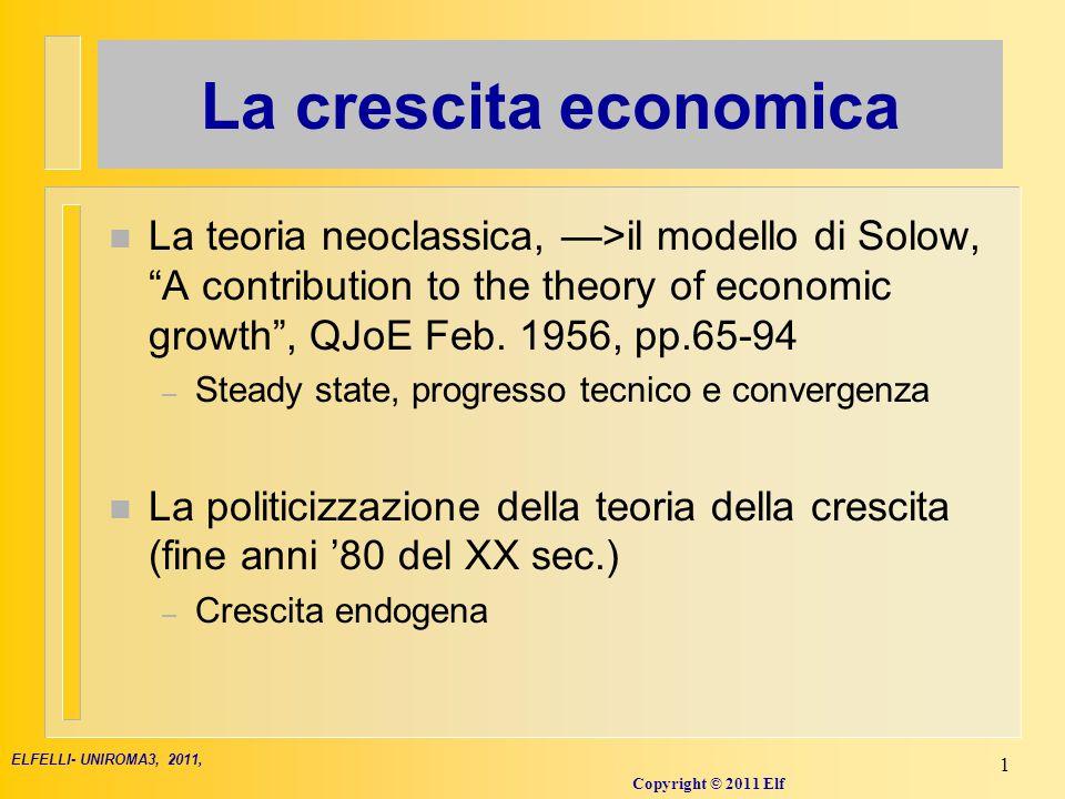 Il lato dell'offerta: la funzione di produzione...