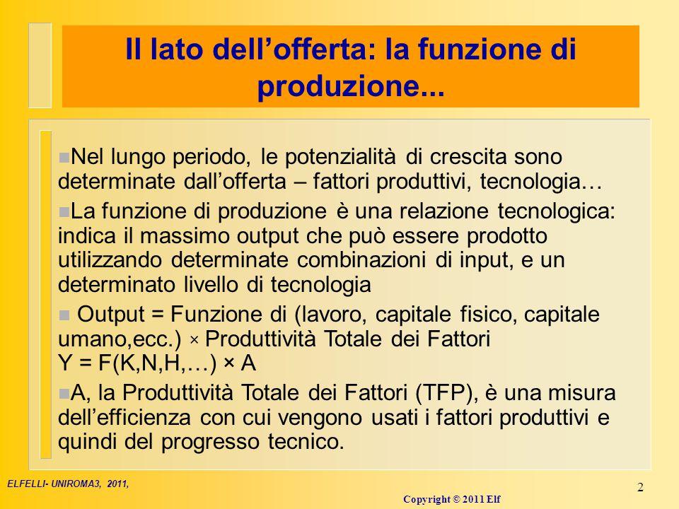 Progresso Tecnico e produttività totale dei fattori