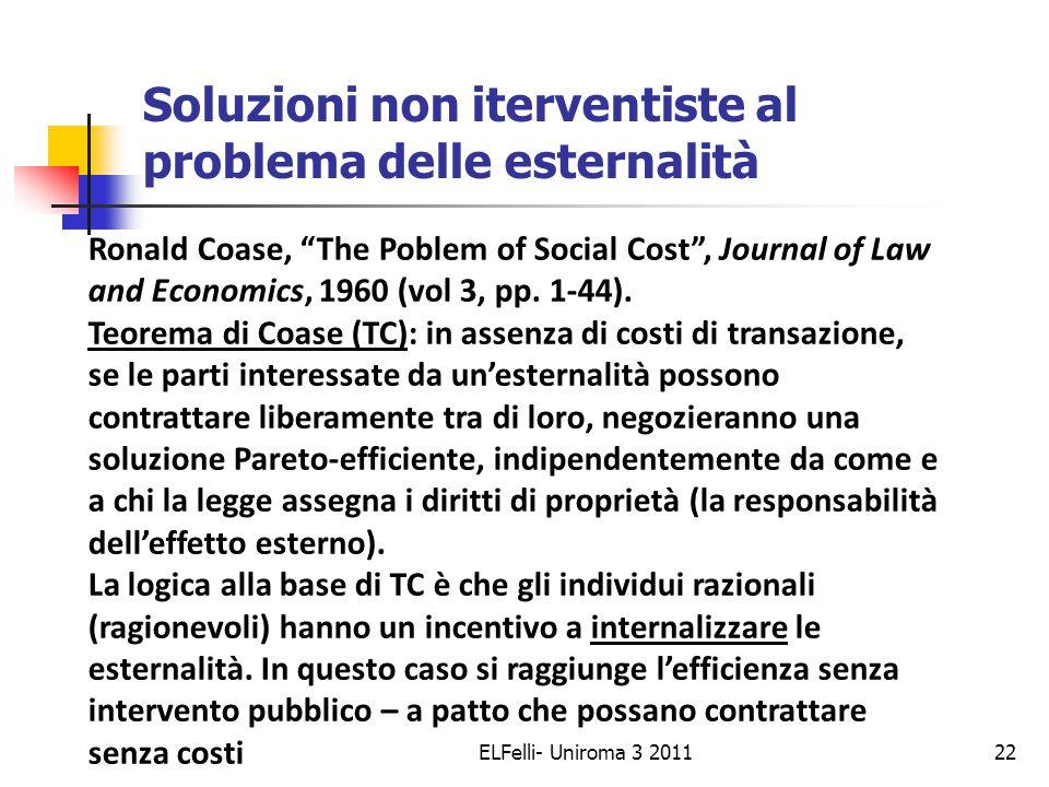 Il Teorema di Coase in azione