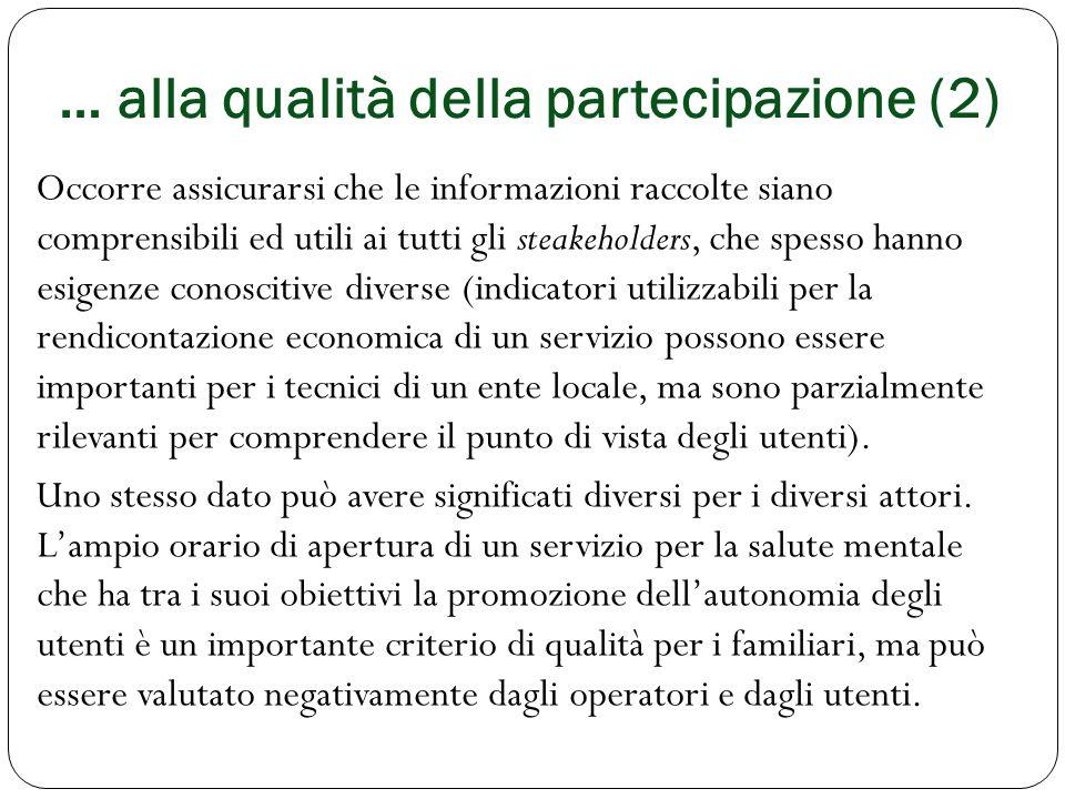 … alla qualità della partecipazione (2)