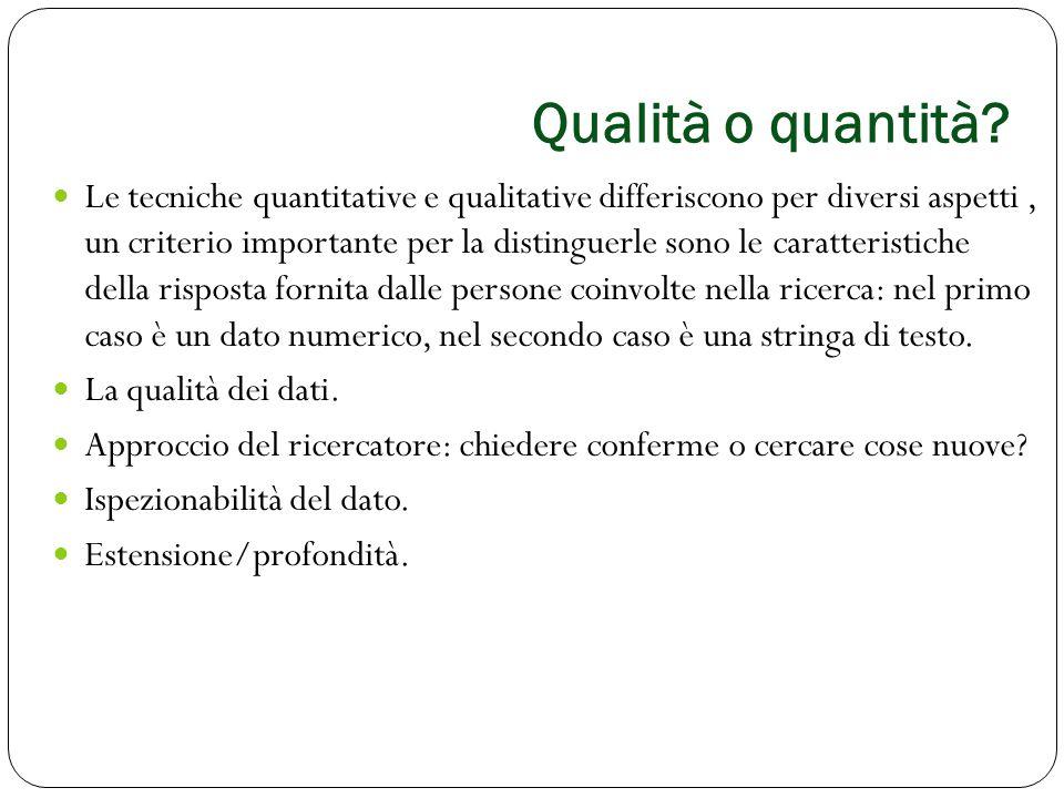 Qualità o quantità