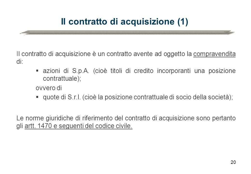 Il contratto di acquisizione (1)