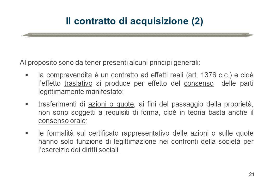 Il contratto di acquisizione (2)