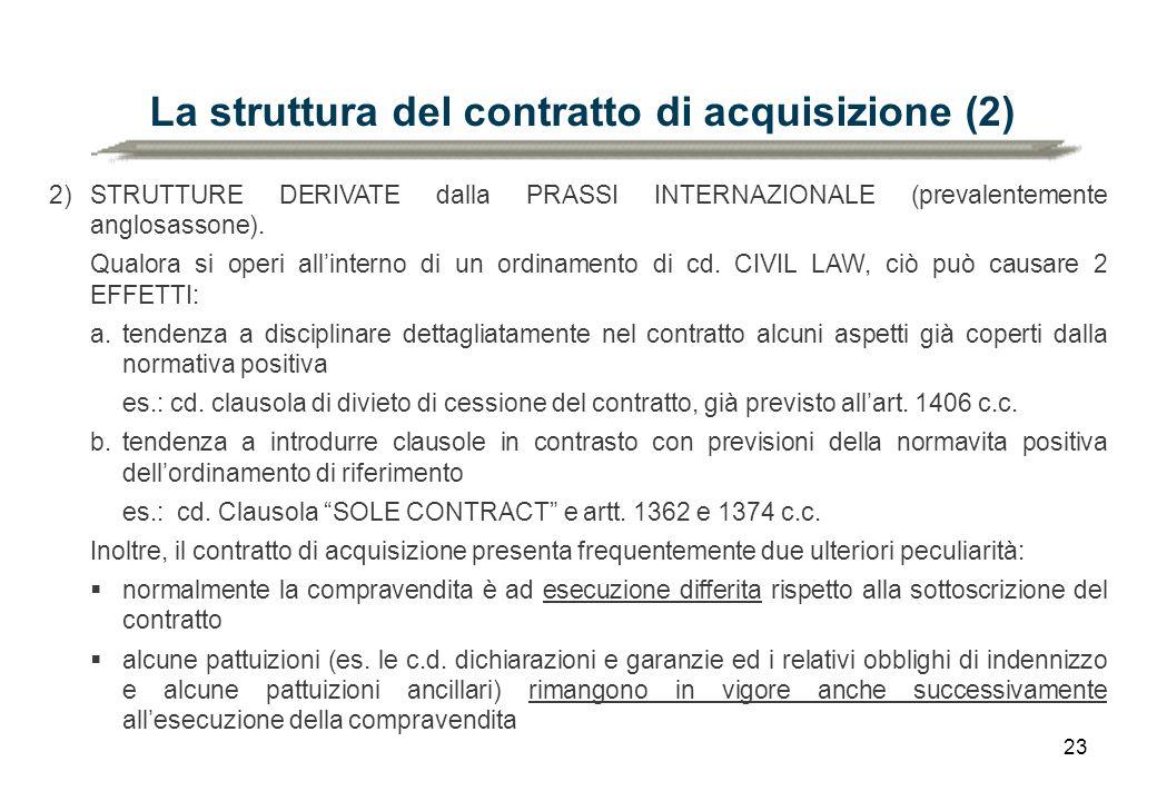La struttura del contratto di acquisizione (2)