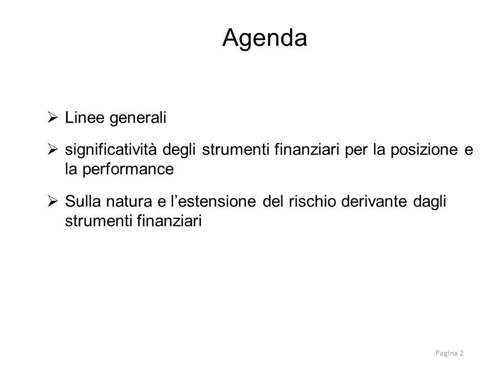 Agenda Linee generali. significatività degli strumenti finanziari per la posizione e la performance.