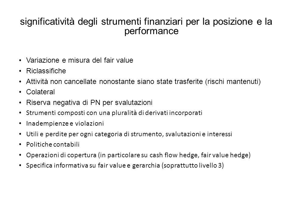 significatività degli strumenti finanziari per la posizione e la performance
