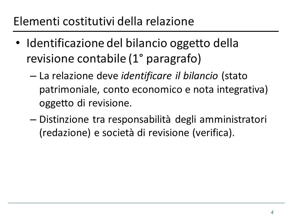 Elementi costitutivi della relazione