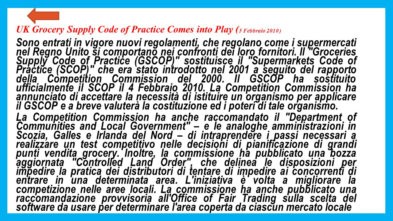 UK Grocery Supply Code of Practice Comes into Play (5 Febbraio 2010 )
