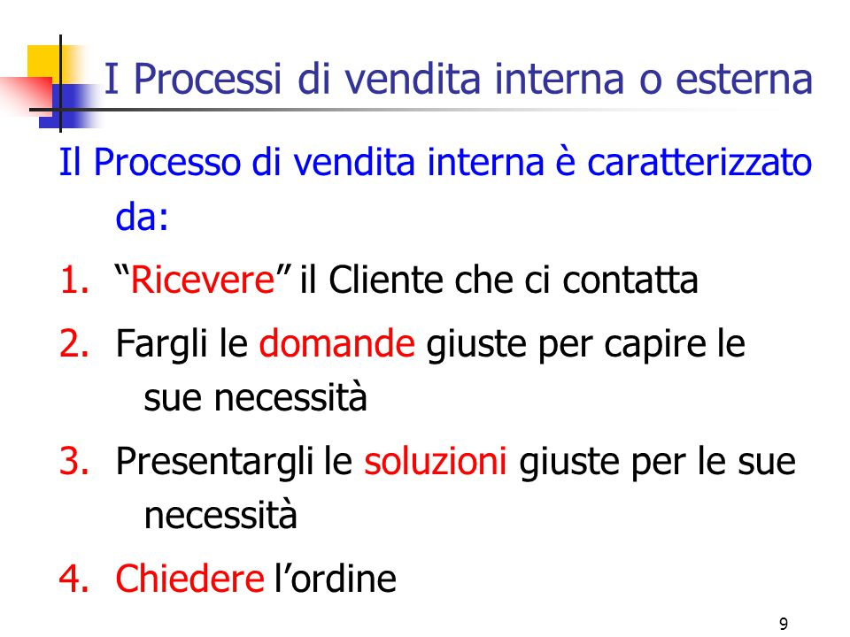 I Processi di vendita interna o esterna