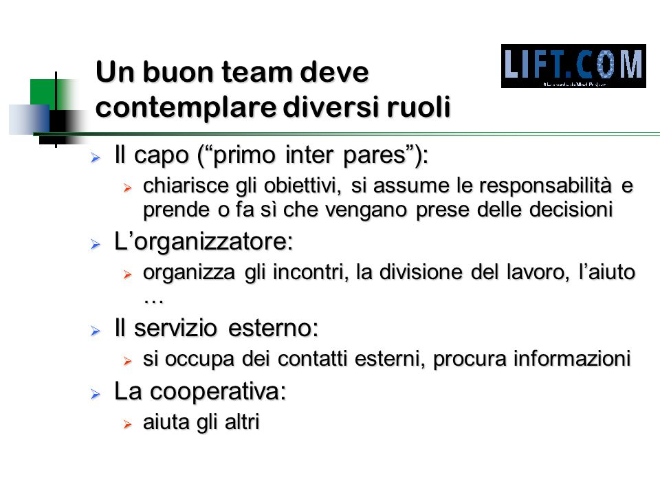 Un buon team deve contemplare diversi ruoli