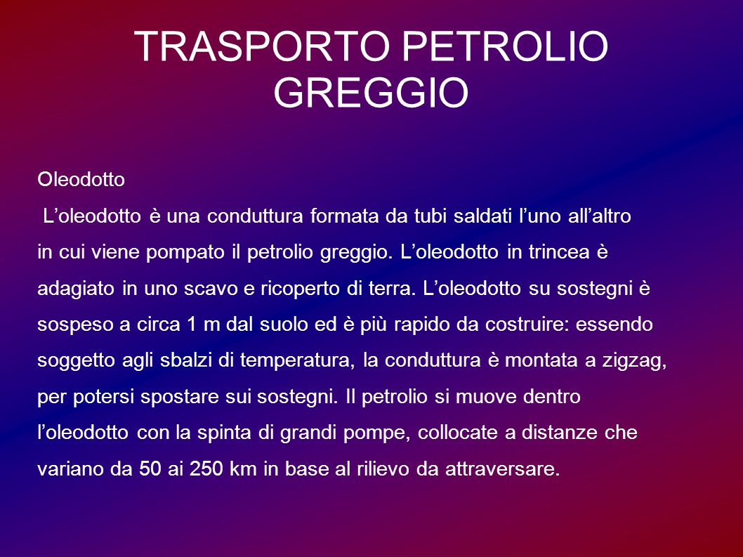 TRASPORTO PETROLIO GREGGIO