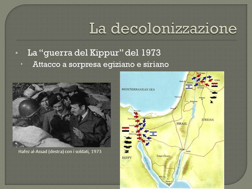 La decolonizzazione La guerra del Kippur del 1973