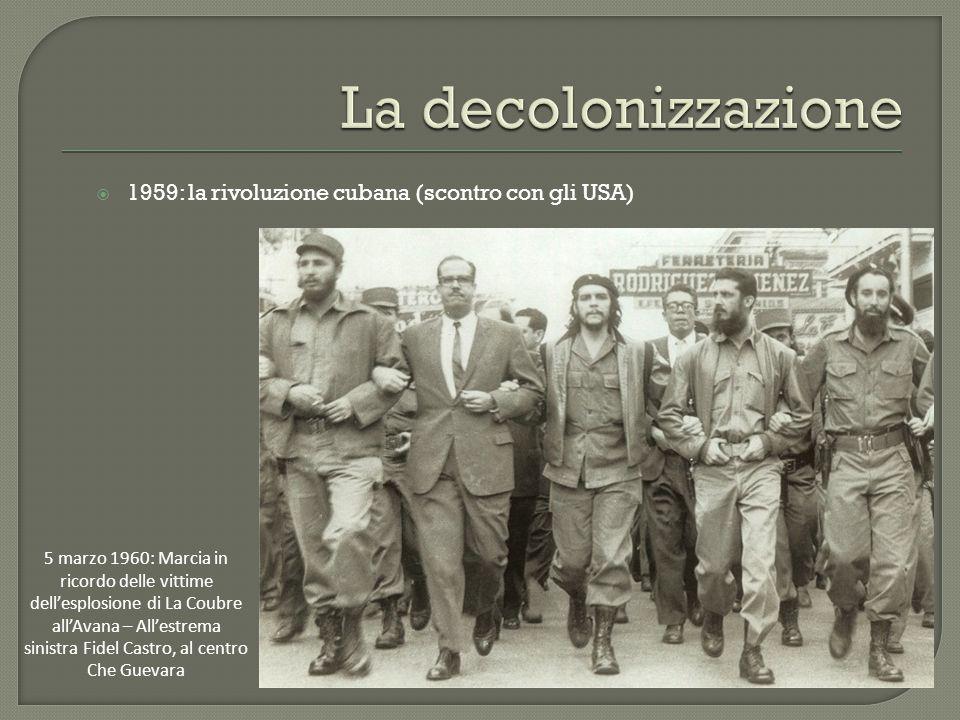 La decolonizzazione 1959: la rivoluzione cubana (scontro con gli USA)