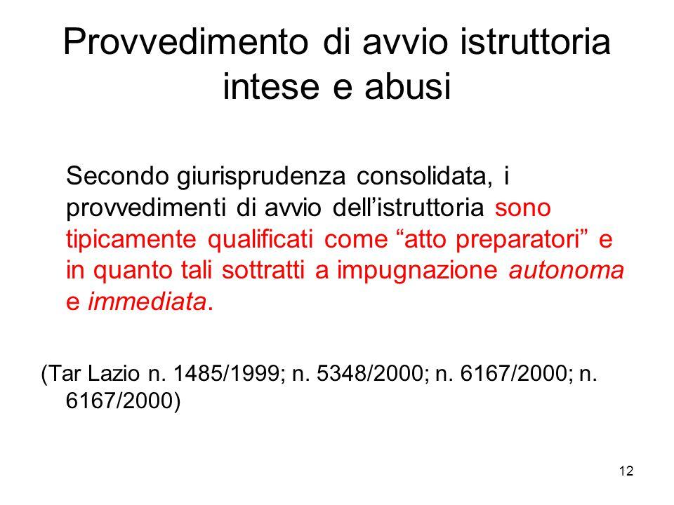 Provvedimento di avvio istruttoria intese e abusi