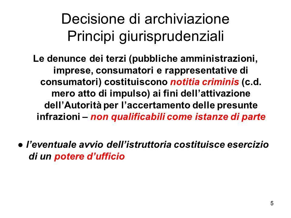 Decisione di archiviazione Principi giurisprudenziali