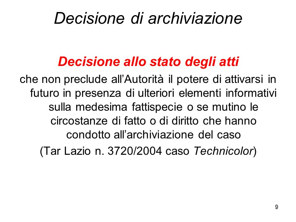 Decisione di archiviazione