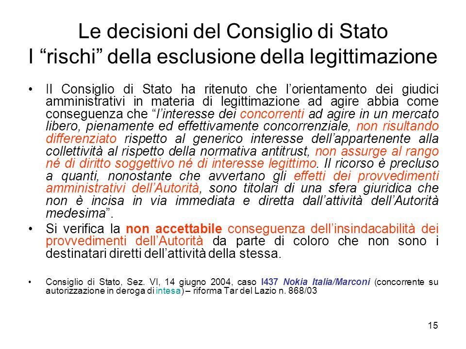 Le decisioni del Consiglio di Stato I rischi della esclusione della legittimazione