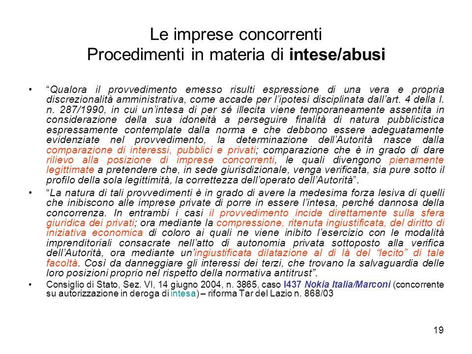 Le imprese concorrenti Procedimenti in materia di intese/abusi
