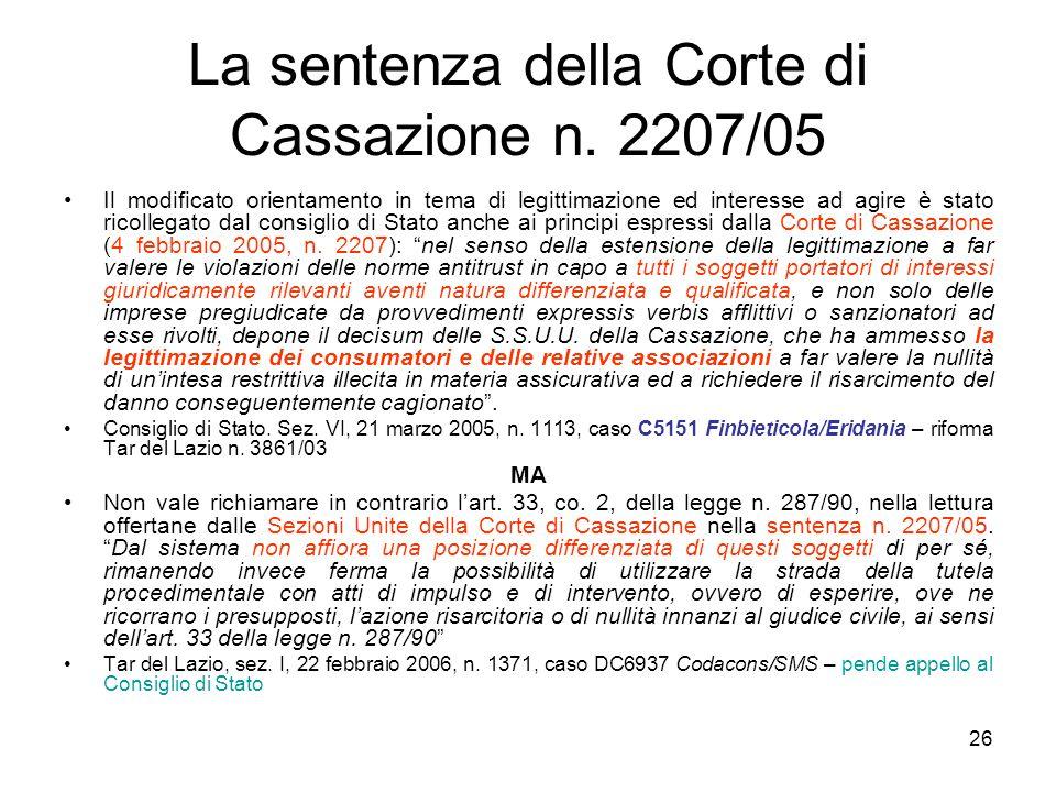 La sentenza della Corte di Cassazione n. 2207/05