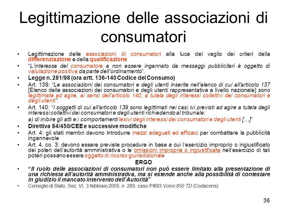 Legittimazione delle associazioni di consumatori