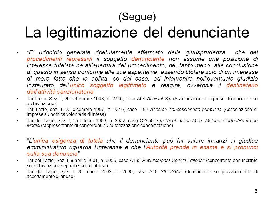 (Segue) La legittimazione del denunciante