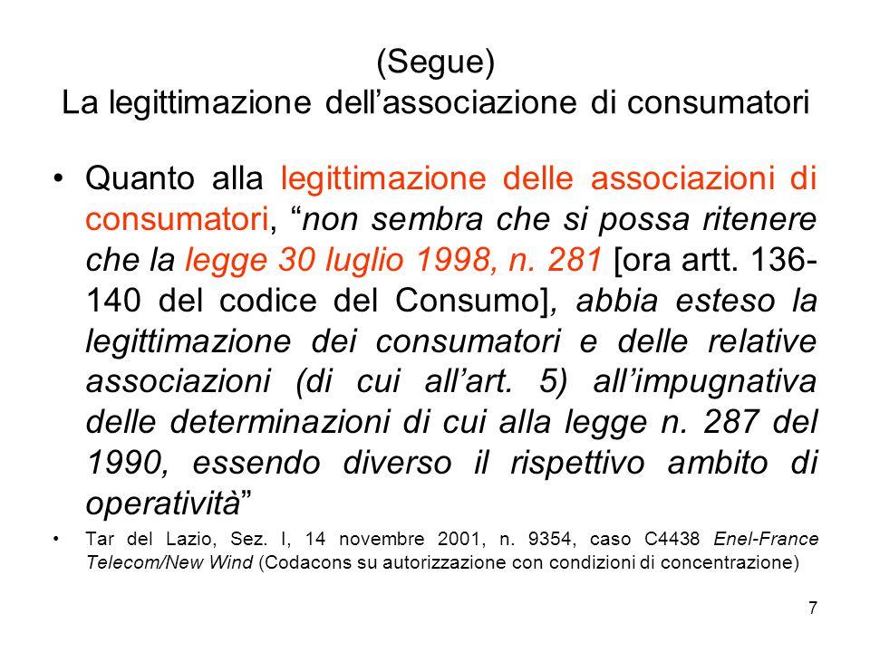 (Segue) La legittimazione dell'associazione di consumatori