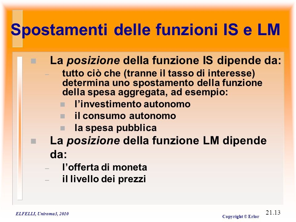 La politica fiscale nel modello IS-LM (crowding out)