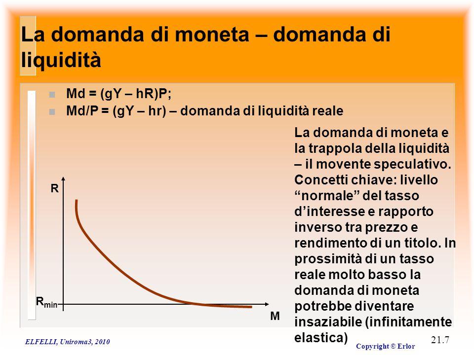 L'equilibrio del mercato monetario: la funzione LM