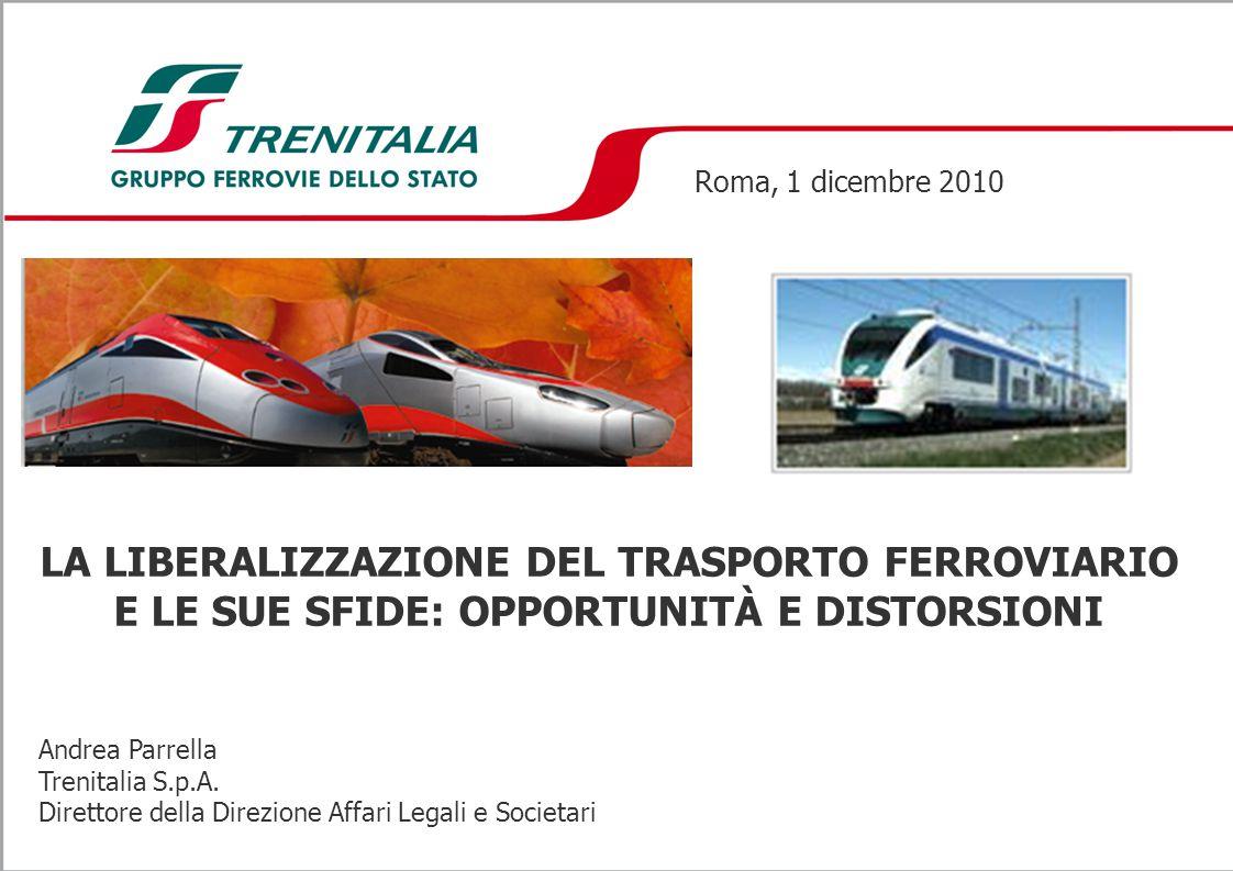 Roma, 1 dicembre 2010 LA LIBERALIZZAZIONE DEL TRASPORTO FERROVIARIO E LE SUE SFIDE: OPPORTUNITÀ E DISTORSIONI.