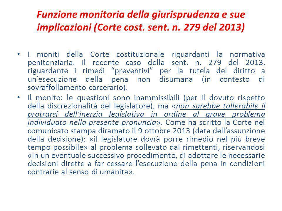 Funzione monitoria della giurisprudenza e sue implicazioni (Corte cost
