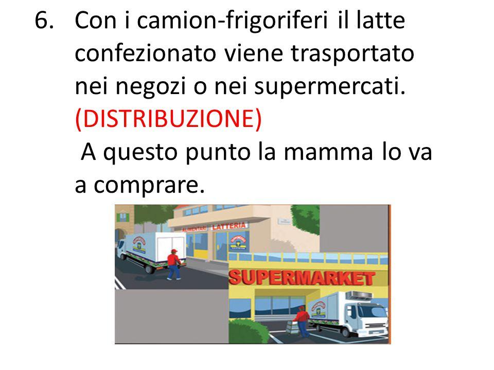 Con i camion-frigoriferi il latte confezionato viene trasportato nei negozi o nei supermercati.
