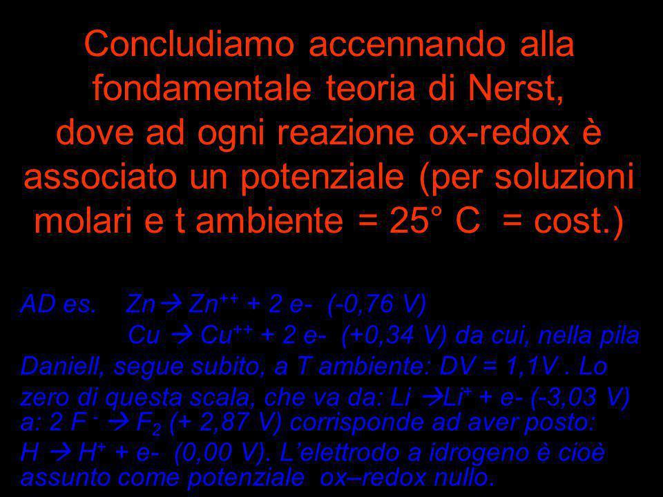 Concludiamo accennando alla fondamentale teoria di Nerst, dove ad ogni reazione ox-redox è associato un potenziale (per soluzioni molari e t ambiente = 25° C = cost.)