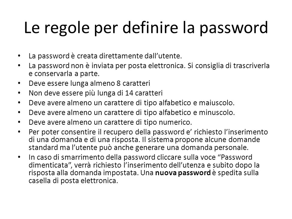 Le regole per definire la password