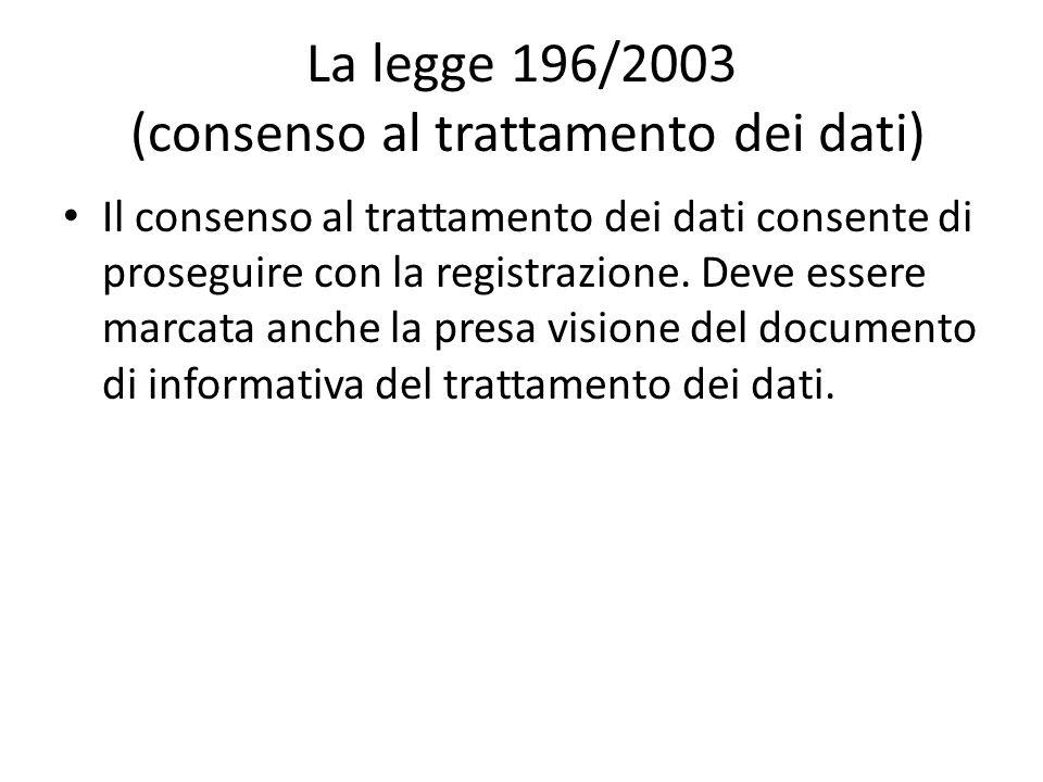 La legge 196/2003 (consenso al trattamento dei dati)