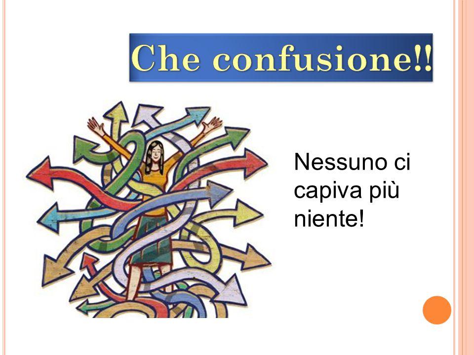 Che confusione!! Nessuno ci capiva più niente!