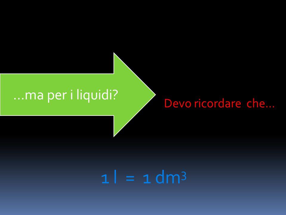 ...ma per i liquidi Devo ricordare che... 1 l = 1 dm3