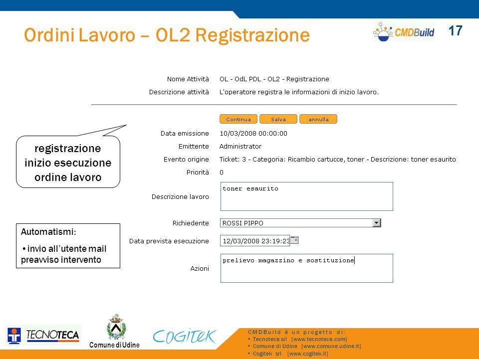 registrazione inizio esecuzione ordine lavoro