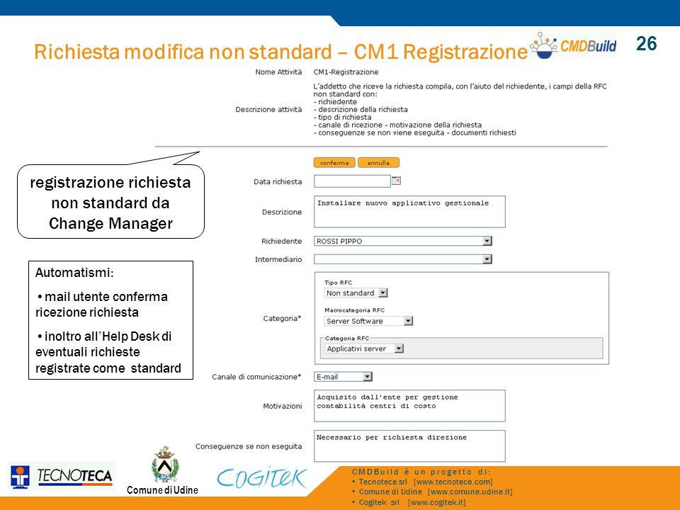 registrazione richiesta non standard da Change Manager