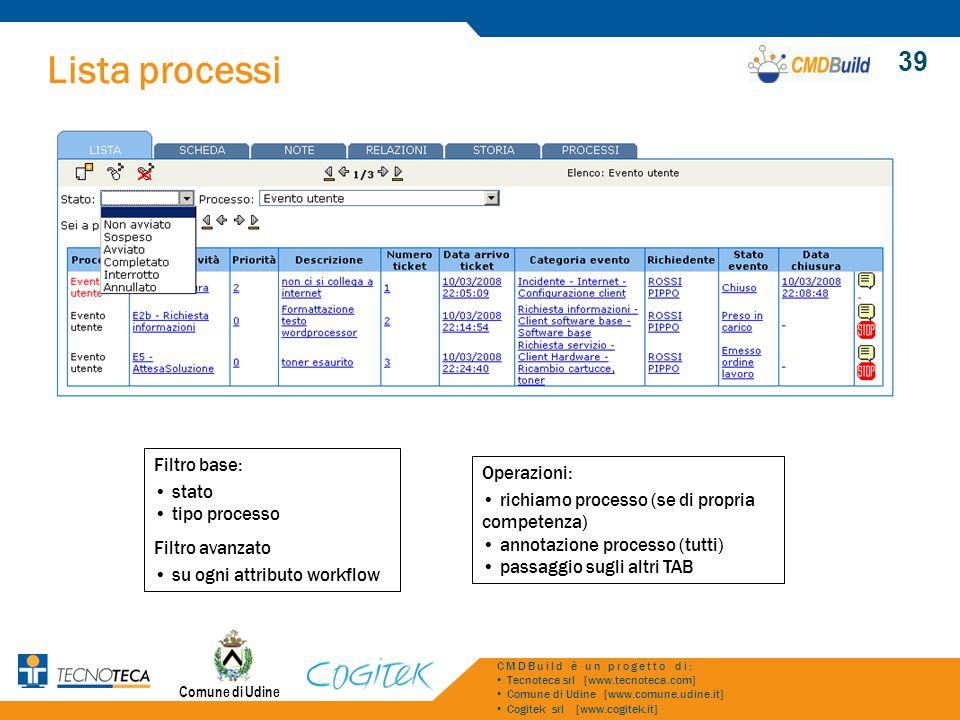 Lista processi 39 Filtro base: stato Operazioni: