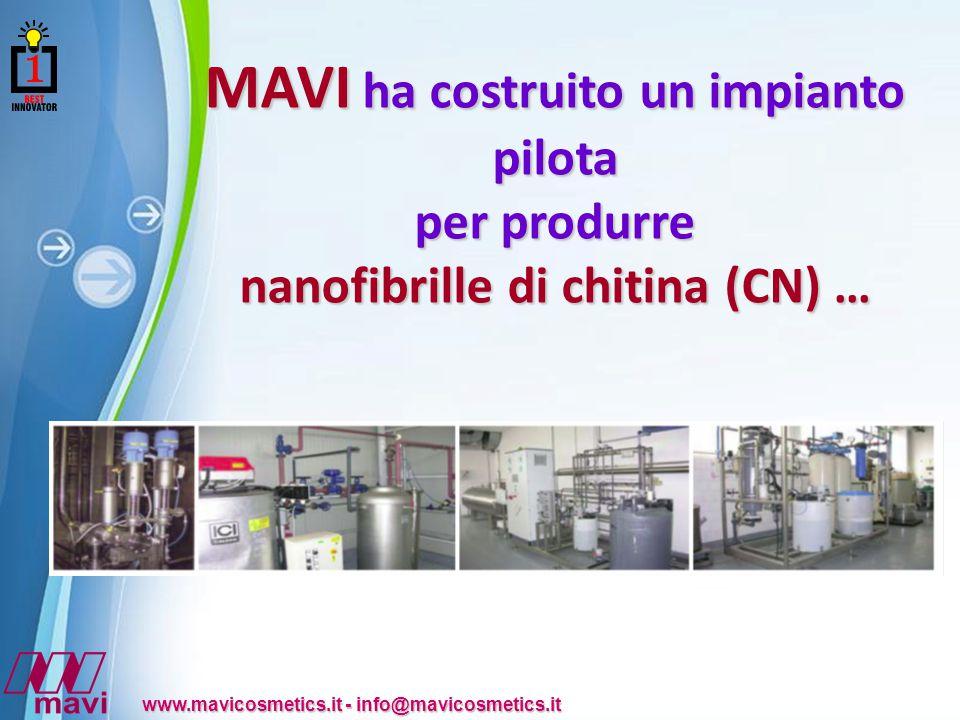 MAVI ha costruito un impianto pilota nanofibrille di chitina (CN) …