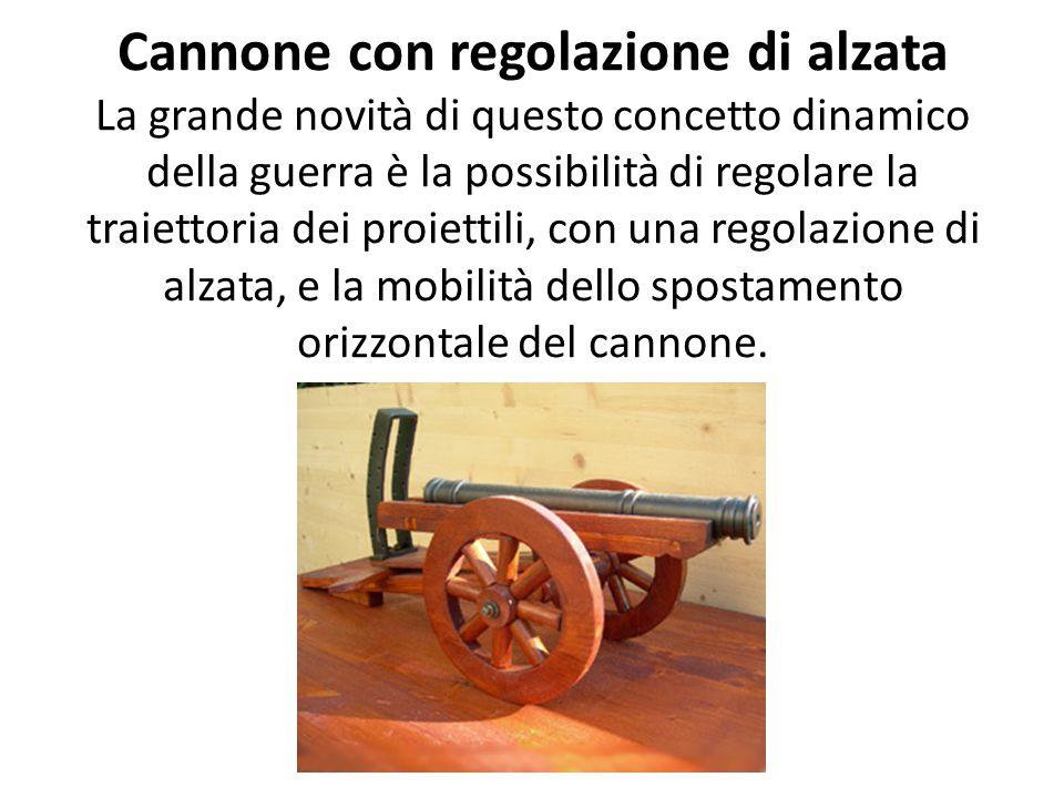 Cannone con regolazione di alzata La grande novità di questo concetto dinamico della guerra è la possibilità di regolare la traiettoria dei proiettili, con una regolazione di alzata, e la mobilità dello spostamento orizzontale del cannone.