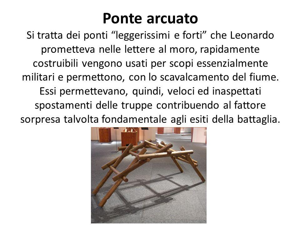 Ponte arcuato Si tratta dei ponti leggerissimi e forti che Leonardo prometteva nelle lettere al moro, rapidamente costruibili vengono usati per scopi essenzialmente militari e permettono, con lo scavalcamento del fiume.