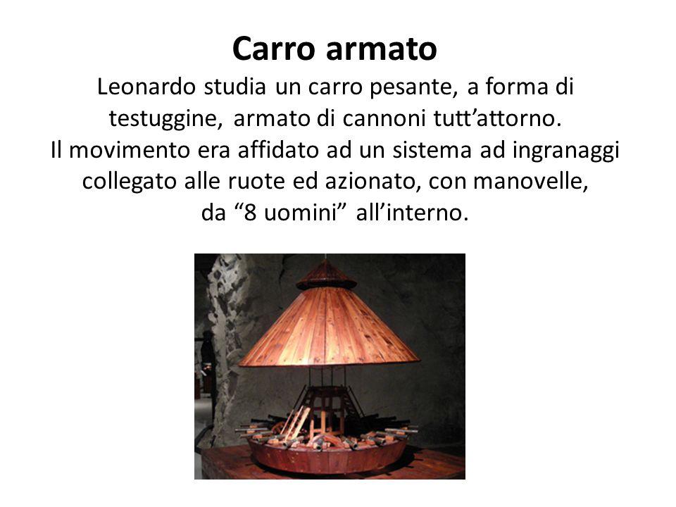 Carro armato Leonardo studia un carro pesante, a forma di testuggine, armato di cannoni tutt'attorno.
