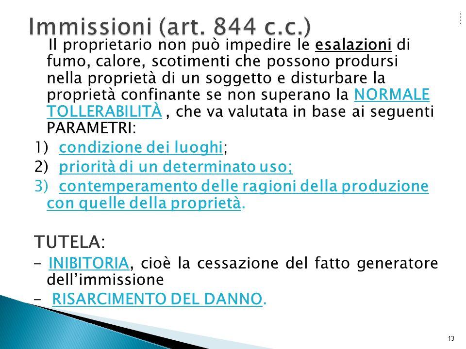 Immissioni (art. 844 c.c.) TUTELA: