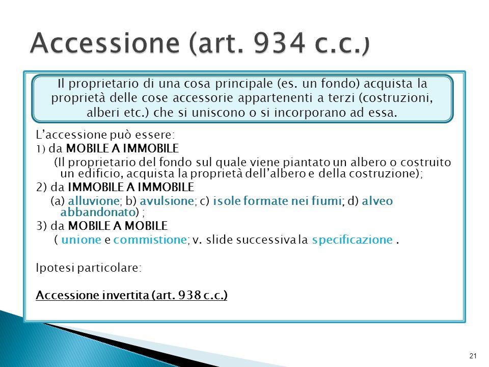 Accessione (art. 934 c.c.) L'accessione può essere: 1) da MOBILE A IMMOBILE.