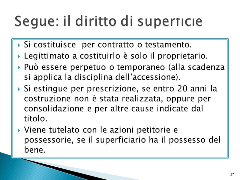 Segue: il diritto di superficie