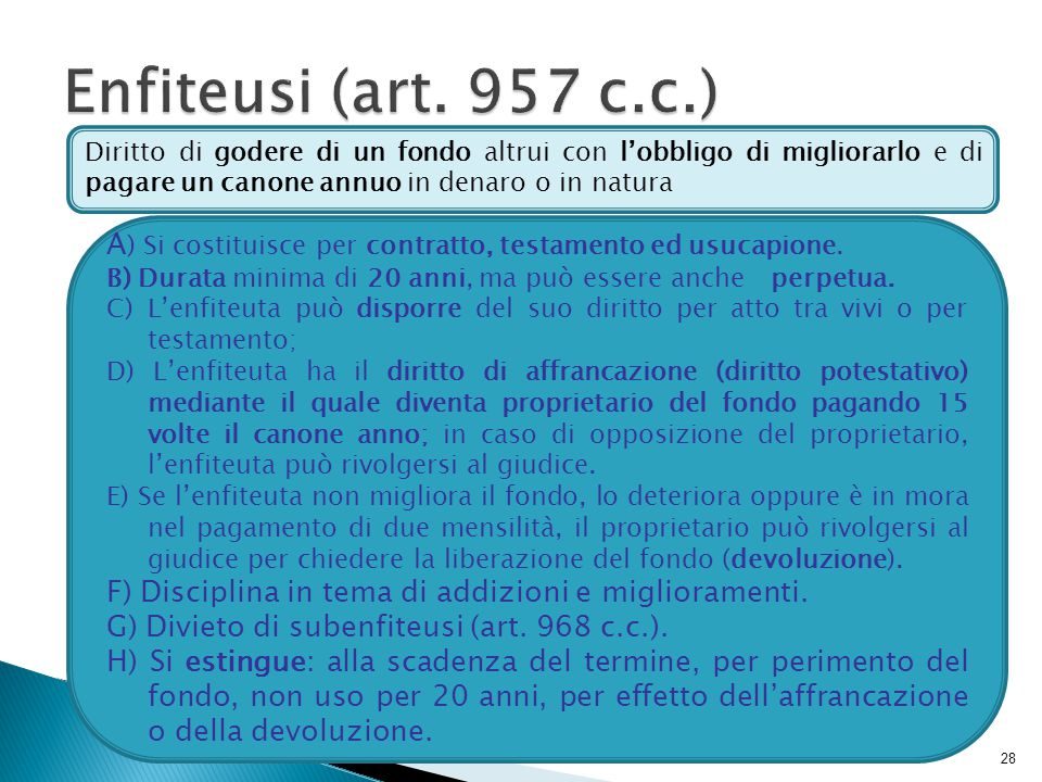 Enfiteusi (art. 957 c.c.) Diritto di godere di un fondo altrui con l'obbligo di migliorarlo e di pagare un canone annuo in denaro o in natura.